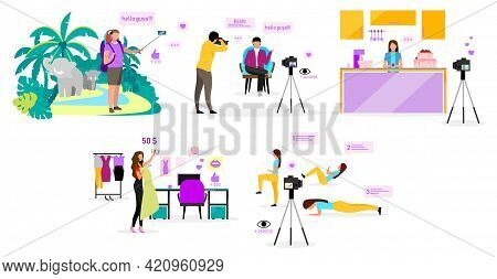 Bloggers Flat Vector Illustrations Set. Travel, Fashion, Sports And Cooking Blog. Filmmakers, Influe