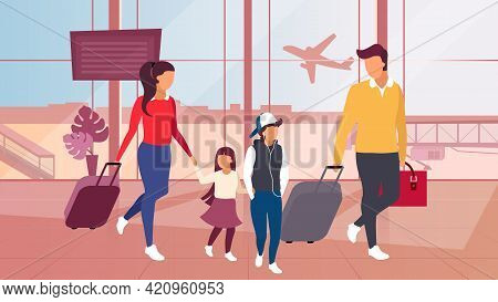 Family Travelling By Plane Vector Illustration. Parents And Children, Siblings Carrying Luggage, Bag