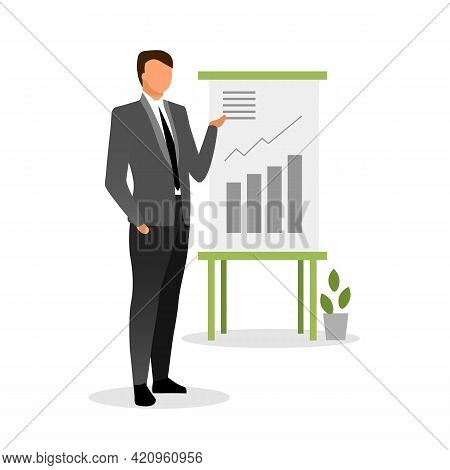 Top Manager Making Report Vector Illustration. Banking System Expert, Finance Analyst Explaining Gro