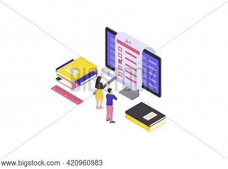Online Test Isometric Color Vector Illustration. Examination, Homework, Questionnaire Form Infograph