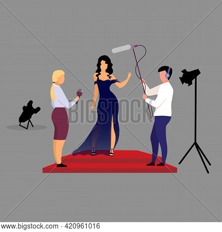 Journalists, Reporters Interviewing Celebrity Flat Vector Illustration. Interviewers With Microphone