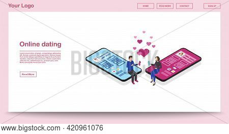 Online Dating Webpage Vector Template With Isometric Illustration. Persons Social Network Profile. C