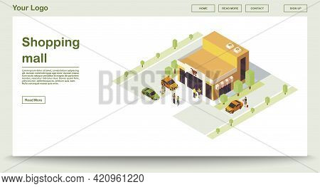 Shopping Mall Webpage Vector Template With Isometric Illustration. Supermarket. Grocery Store. Shop