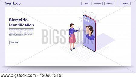 Biometric Identification Webpage Vector Template With Isometric Illustration. Identity Verification.