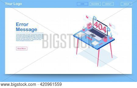 Error Message Isometric Landing Page Template. 404 Error Webpage With Text Space. Server Not Found,