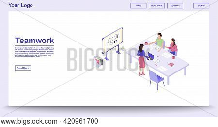 Teamwork Webpage Vector Template With Isometric Illustration. Corporate Meeting. Marketing Research,