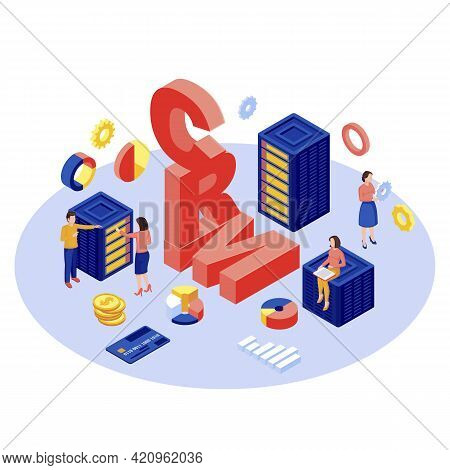 Crm Database, Server Isometric Vector Illustration. Client Data Storage And Management Automation So