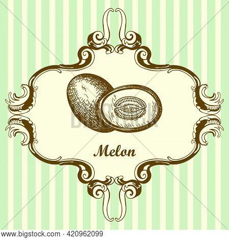 Icon Of Melon. Hand Drawn Sketch. Retro Vintage Design. Vector Illustration.