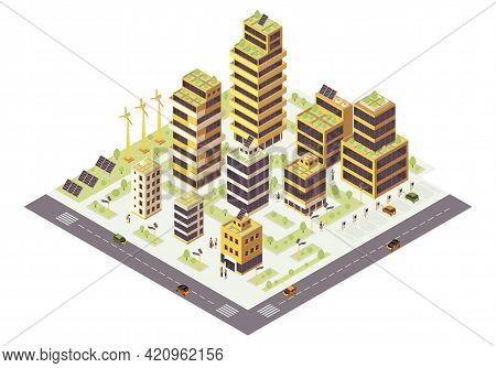 Eco City Isometric Color Vector Illustration. Multi Storey Buildings With Plants On Roof Infographic