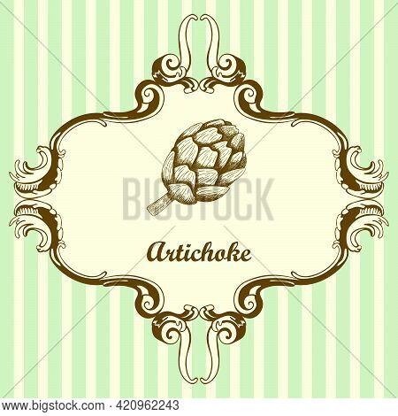 Artichoke Icon. Hand Drawn Sketch Design. Vector Illustration.