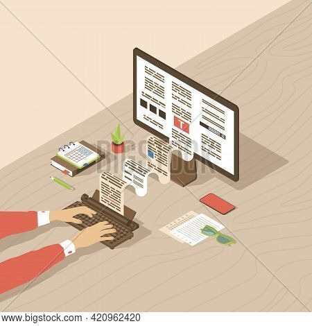 Copywriting, Content Creation Isometric Illustration. Editor, Copywriter, Book Author Typing Text Wi