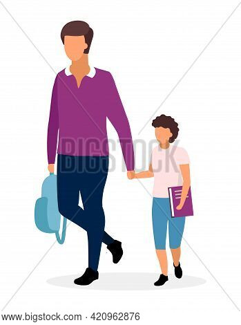 Father With Schoolboy Flat Illustration. Older And Younger Brothers Going To School Holding Hands Ca