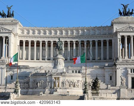 National Monument Called Vittoriano In Rome In Italy With Equestrian Statue With The King Of Italy V