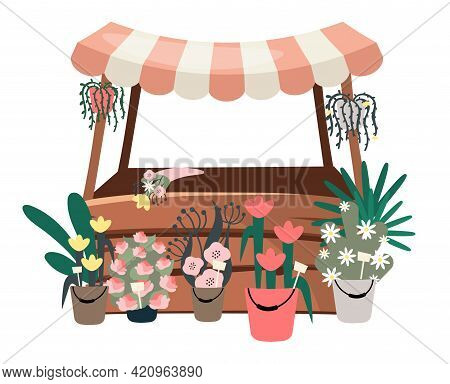 Flowers Market Stall Flat Vector Illustration. Street Local Shop, Store Selling Houseplants, Bouquet