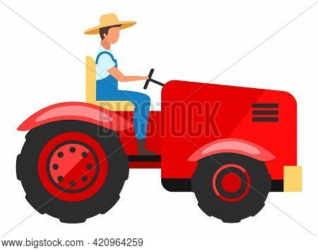 Tractor Driver Flat Character. Farm Worker Driving Agricultural Machinery Cartoon Illustration. Farm