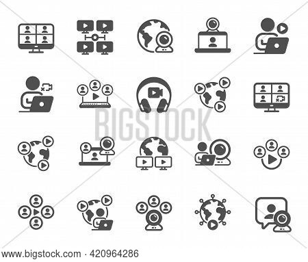 Online Meeting Simple Icons. Virtual Presentation, Video Conference, Live Chat Icons. Team Video, Di