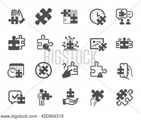 Puzzle Simple Icons. Jigsaw Challenge Time, Business Strategy, Puzzle Pieces Icons. Solution, Decide