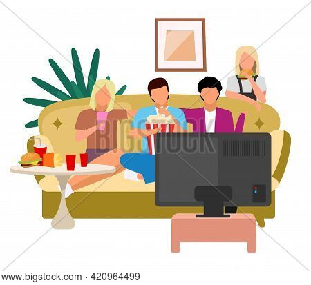 Friends Watching Tv Flat Vector Illustration. Girls, Guys Watch Film, Movie With Popcorn And Fast Fo