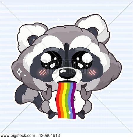 Cute Raccoon Kawaii Cartoon Vector Character. Adorable And Funny Animal Vomiting Rainbow Isolated Gi