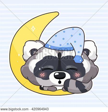 Cute Raccoon Kawaii Cartoon Vector Character. Adorable And Funny Animal Sleeping Isolated Sticker, P