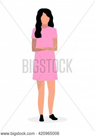 Young Hipster Girl Flat Illustration. Teenager In Pink Dress And Tattoos Isolated Cartoon Character