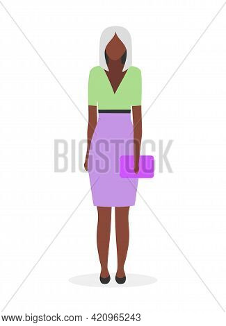 Afro American Businesswoman Flat Vector Illustration. Black Young Woman With Blonde Hair In Formal C