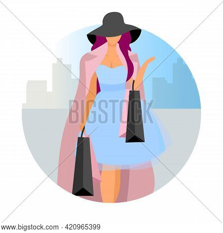 Elegant Woman Making Purchases Flat Concept Vector Icon. Fashionable Lady, Shopaholic With Shopping