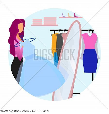 Woman Trying On Dress Flat Concept Icon. Girl Choosing Clothes At Mall, Shop, Clothing Store Sticker