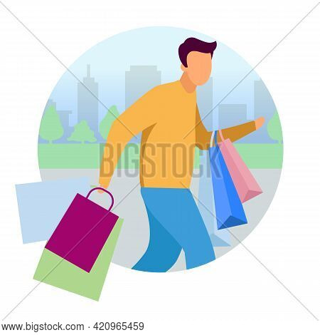 Man Doing Shopping Flat Concept Vector Icon. Guy Hurry Up With Purchases Bags Sticker, Clipart. Shop