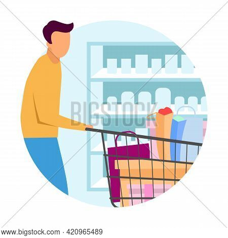 Buyer At Supermarket Flat Concept Icon. Man Doing Purchases At Grocery Store Sticker. Customer With
