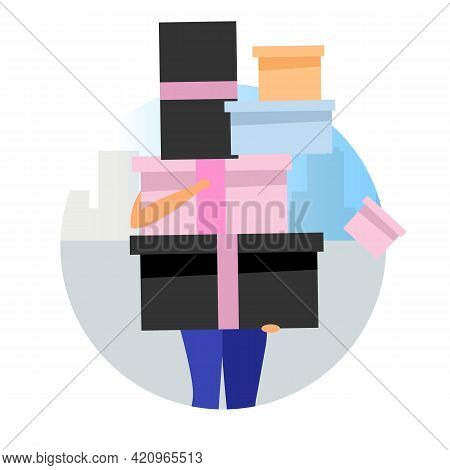 Shopping Day Flat Concept Icon. Woman Holding Pile Of Gift Boxes, Presents And Purchases Sticker, Cl