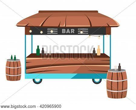 Bar Food Truck Flat Vector Illustration. Cocktail Lounge Food Court. Saloon Service On Wheels. Drink