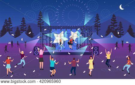 Nighttime Music Festival Flat Vector Illustration. Open Air Live Performance. Rock, Pop Musician Con