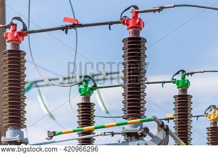 High Voltage Power Transformer In Substation.general View To High-voltage Substation With Switches.