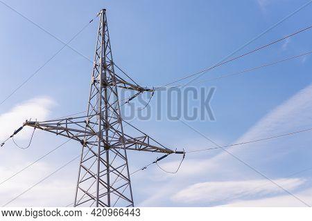 High Voltage Electric Transmission Pylon Tower.electricity Concept Close Up High Voltage Power Lines
