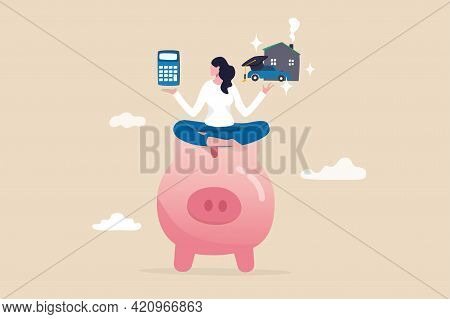 Personal Finance Money Management, Expense, Cost And Budget Calculation For Education, Housing Mortg