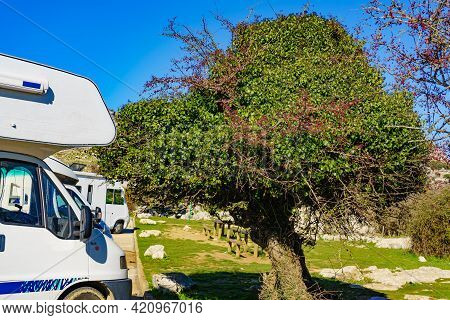 Caravan In Nature Reserve In The Sierra Del Torcal Mountain Range Near Antequera City, Province Mala