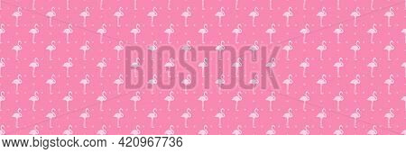 Seamless Dot Pattern. Dotted Background. Dotty Geometric Texture With Flamingos. Colorful Illustrati