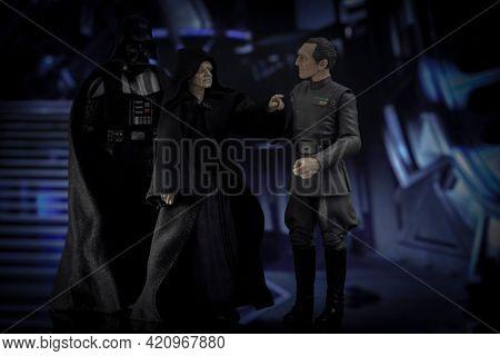 MAY 17 2021: Star Wars Emperor Palpatine, Darth Vader and Grand Moff Tarkin aboard the Death Star - Hasbro action figure