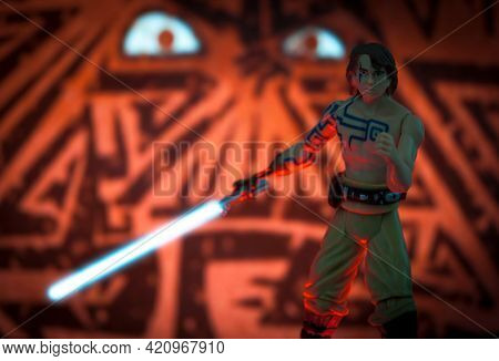 MAY 17 2021: scene from 2003 Star Wars the Clone Wars, Anakin Skywalker with Nelvaan tattoos and Vader foreshadowing  - Hasbro action figure