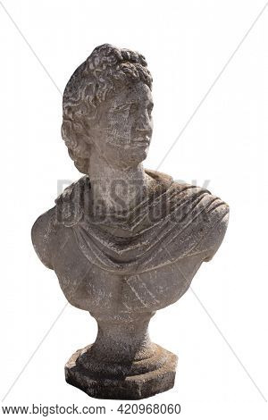 Ancient stone sculpture of man's bust on white background. art and classical style romantic figurative stone sculpture.