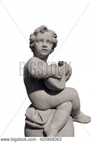 Ancient stone sculpture of naked cherub playing lute on white background. art and classical style romantic figurative stone sculpture.