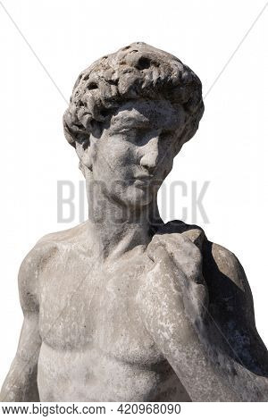 Close up of ancient stone sculpture of naked man on white background. art and classical style romantic figurative stone sculpture.