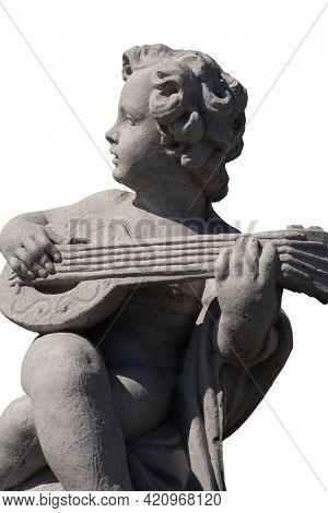 Side view of ancient stone sculpture of naked cherub playing lute on white background. art and classical style romantic figurative stone sculpture.