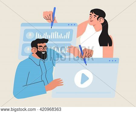 Video Editor Vector Illustration. Creative Team Concept Working With Footage Editing In Online Or Of