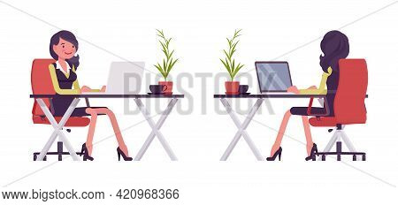 Businesswoman In Secretary Office Dress Working With Laptop At Desk. Successful Female Manager, Youn