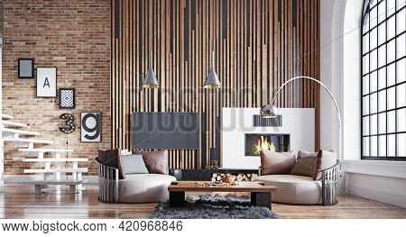 modern living interior. 3d design concept illustration