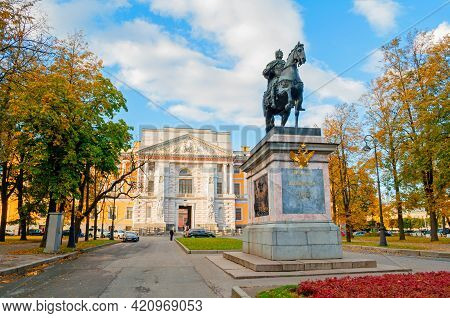 Saint Petersburg,russia-october 3, 2016. Monument To Russian Emperor Peter The Great Near The Mikhai