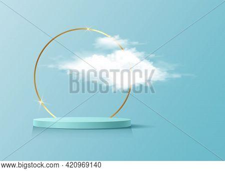 3d Platform Studio Display Minimal Scene, Gold Round Frame And Fluffy Cloud. Studio Blue Pedestal Fl