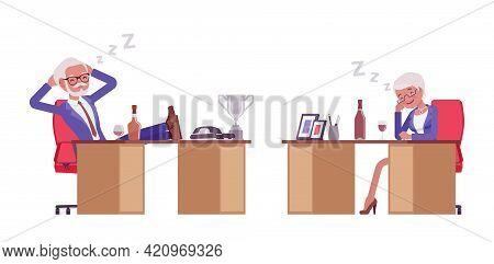 Handsome Old Man, Woman Elderly Businesspeople Resting, Sleep At Work Desk. Bossy Senior Manager, Gr